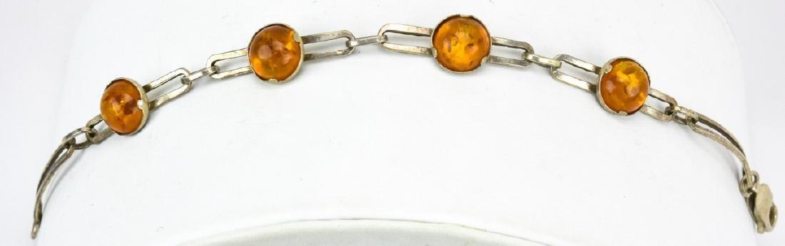Vintage Sterling Silver & Amber Cabochon Bracelet