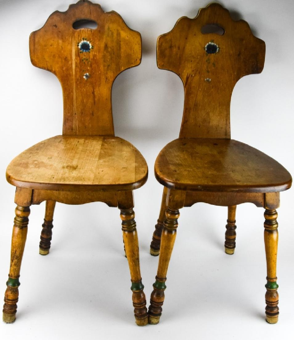 Pair Antique Spindle Leg Side Chairs