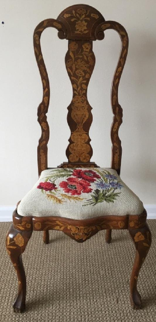 Queen Anne Inlaid Side Chair W Needlepoint Seat