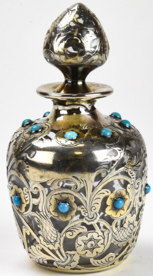 Antique Sterling Silver & Enamel Perfume Bottle