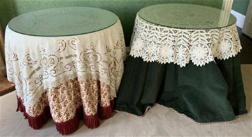 Pair Of Round End Tables With Custom Table Cloths May 30