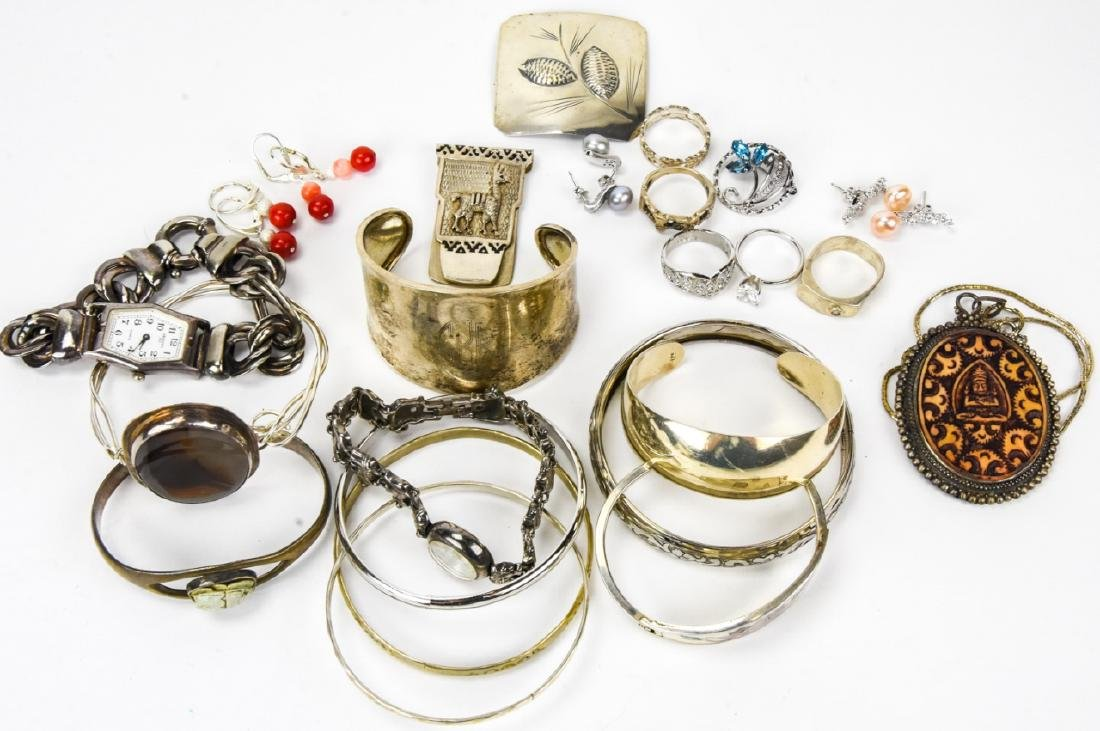 Collection of Sterling & Silver Tone Jewelry
