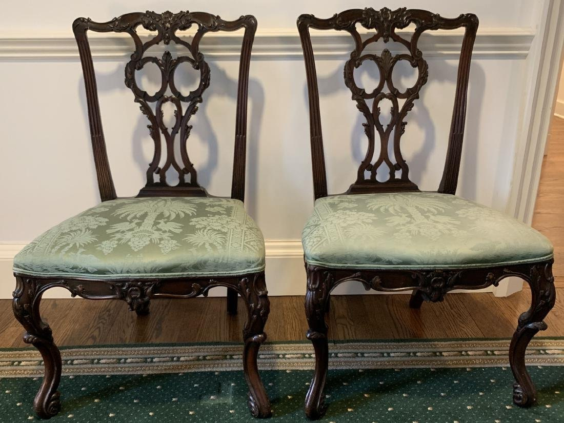 Pair Chippendale Style Carved Wood Side Chairs