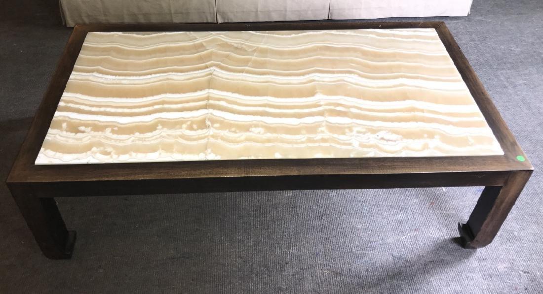 Custom Made Asian Style Coffee Table w Onyx Top