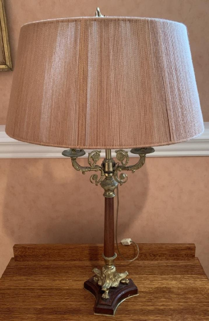 Antique Candlestick Table Lamp W Brass Details