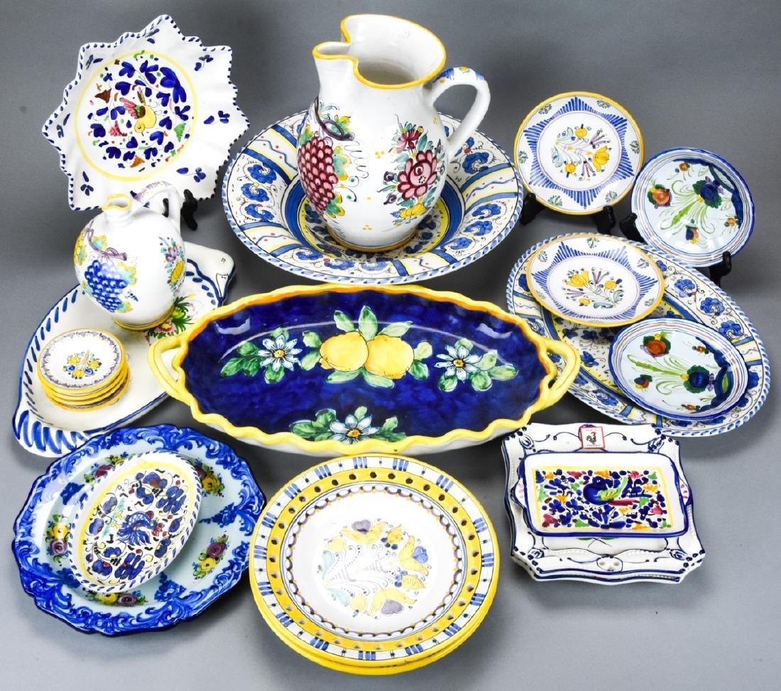 Lot Italian Portuguese Pottery Plates & Serve Ware