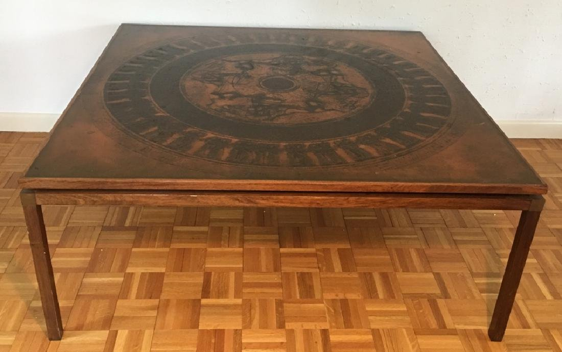Danish Modern Egyptian Revival Style Coffee Table