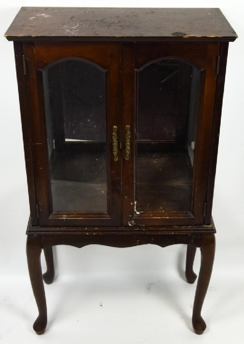 Queen Anne Style Mahogany Glass Front Display Case