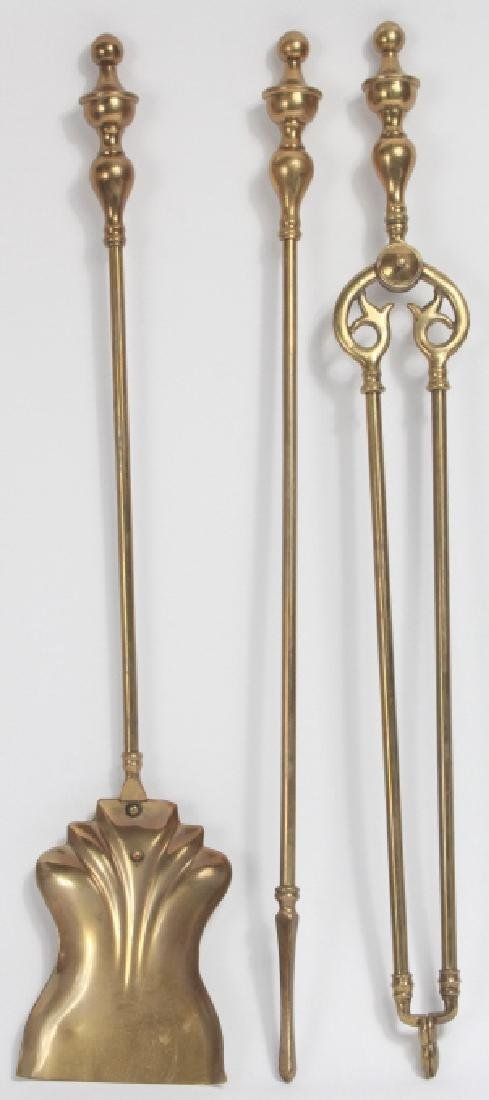 Terrific 3 Vintage Brass Fireplace Tools Beutiful Home Inspiration Xortanetmahrainfo
