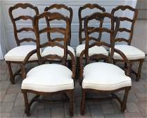 6 French Provincial Ladder Back Dining Chairs