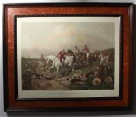 T.W. Huffman Hand Colored Fox Hunting Engraving