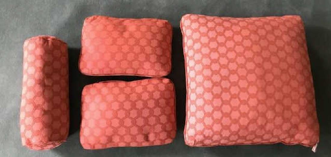 Group of Four Custom Made Coral Tone Throw Pillows