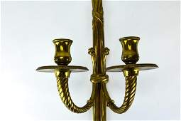 Pair Neoclassical Style Brass Wall Sconces