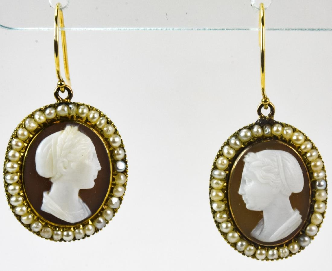 Pair Antique Early 19th C 14k Gold Cameo Earrings