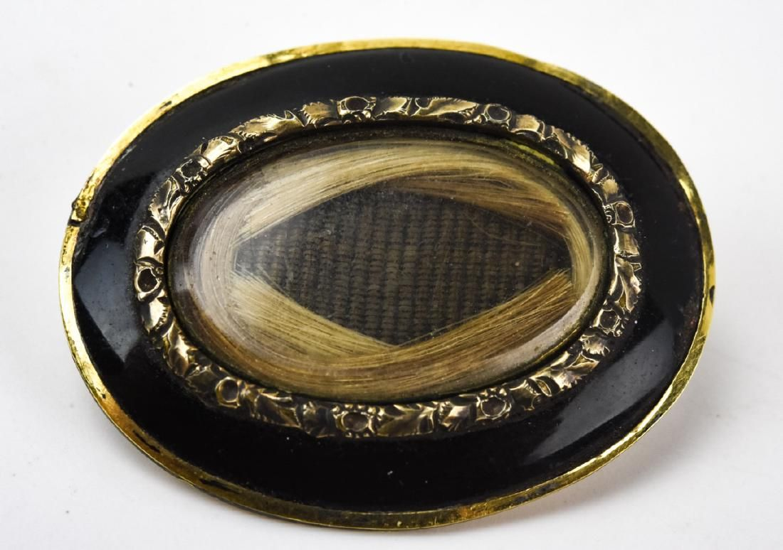 Antique 19th C Yellow Gold Enamel Mourning Brooch