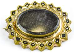 Antique 19th C Glass Front Locket Mourning Brooch