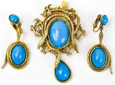 Vintage Costume Jewelry Suite w Snake Motif