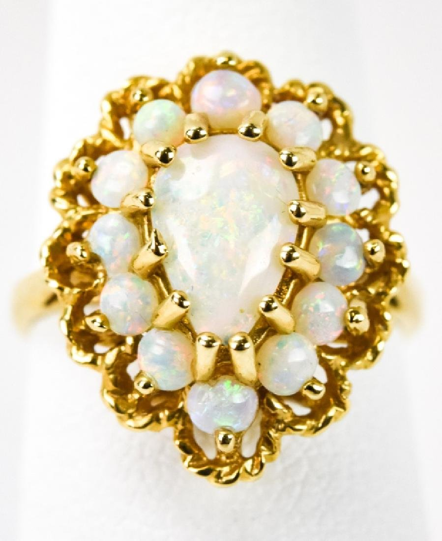Estate 14kt Yellow Gold & Opal Cluster Ring