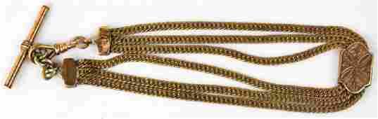Antique 19th C 3 Strand Watch Fob Chain w Slide