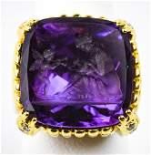Estate 18kt Gold Diamond Amethyst Hammerman Ring