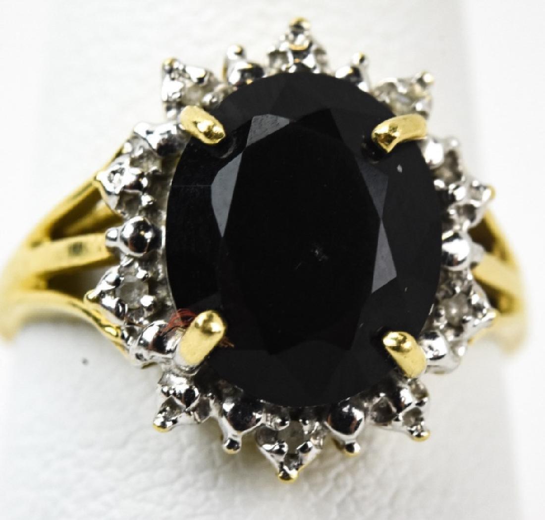 Vintage 14kt Yellow Gold Garnet & Diamond Ring