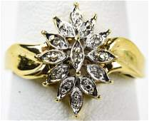 Vintage 10kt Yellow Gold Diamond Cluster Ring