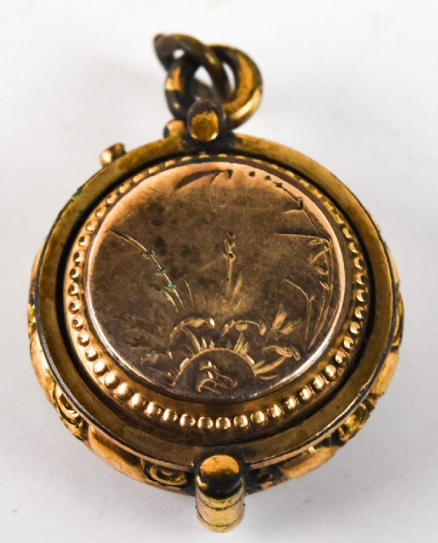 Antique 19th C Gold Filled Locket Necklace Pendant