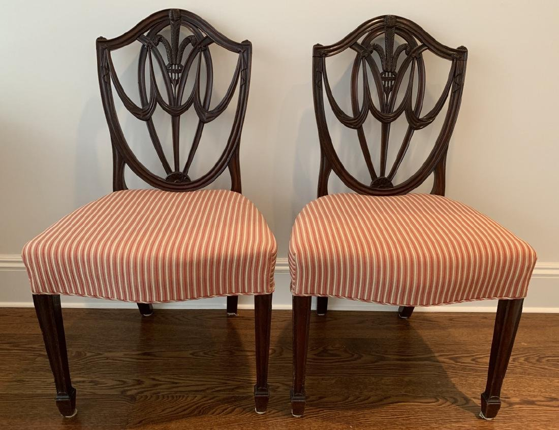 Pair Antique Hepplewhite Shield Back Side Chairs