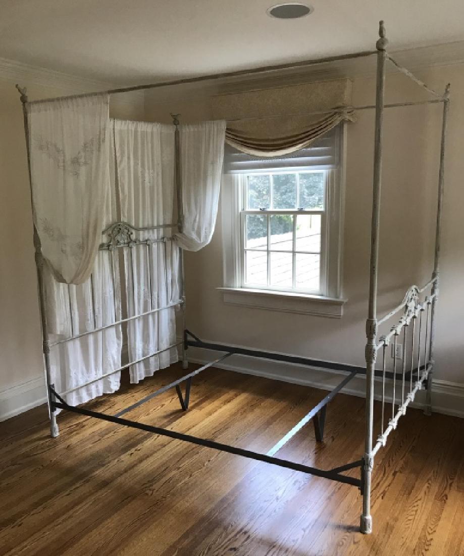 Contemporary Wrought Iron Canopy Bed w Bird Motif