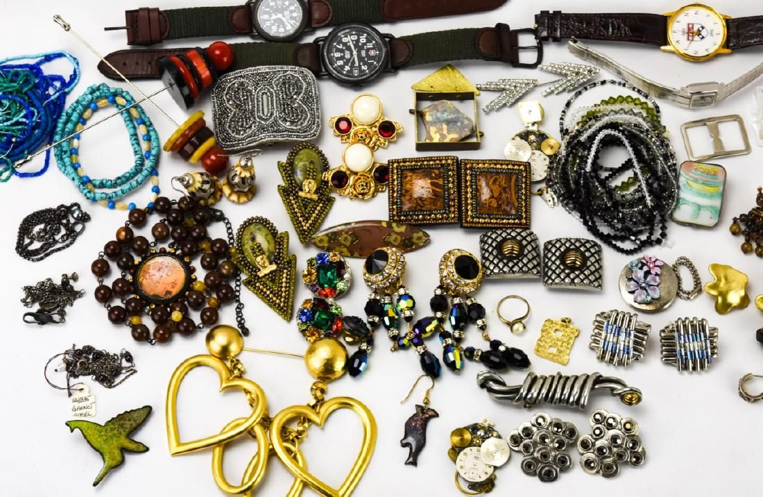 Collection of Vintage Costume Jewelry & Watches