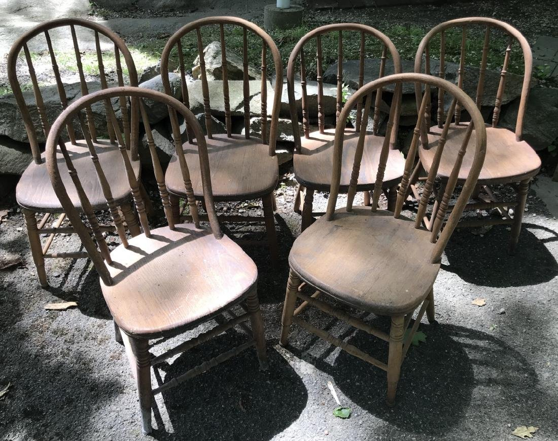 Six Antique 19th C Carved Wood Dining Chairs