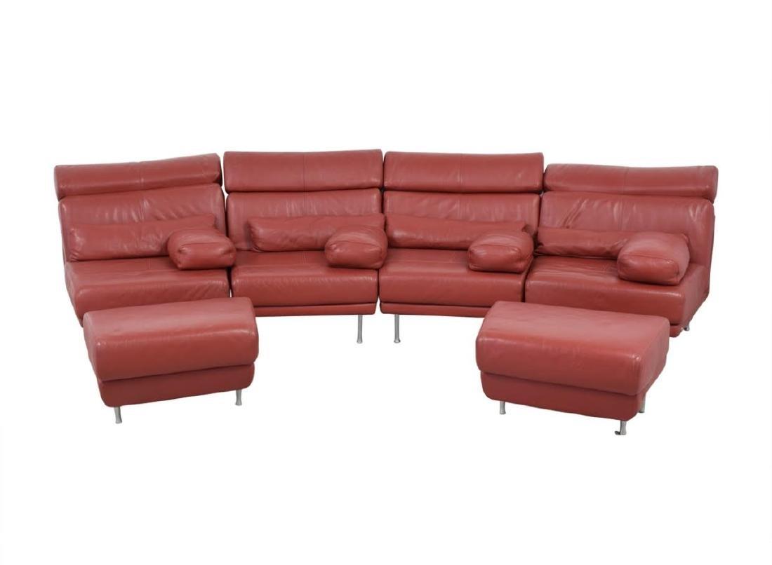 Natuzzi Italian Red Leather 4 Piece Sectional Sofa