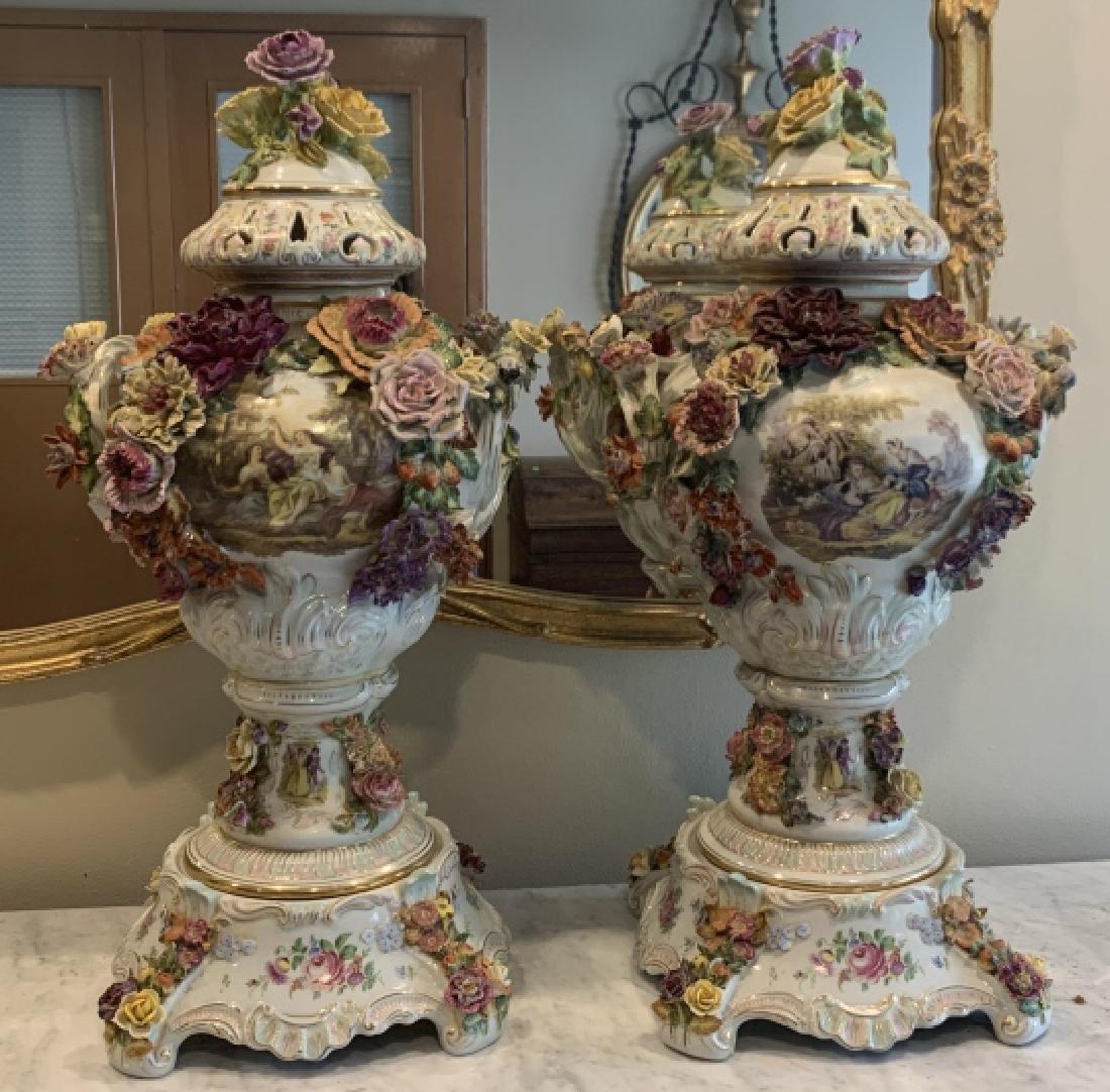 Pair of Large Dresden Porcelain Urns