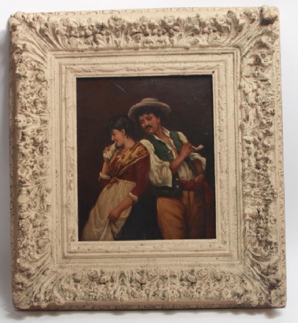 Antique 19th Century Genre Oil Painting
