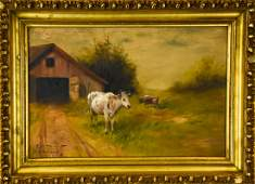 Signed Pastoral Scene Oil Painting
