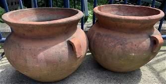 Pair Mediterranean Style Terra Cotta Planters