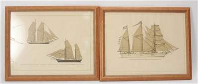 Pair Swedish Ship / Nautical Prints Framed