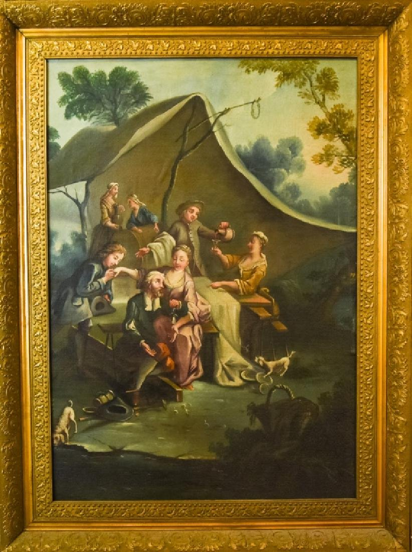 French Rococo Style Libation Scene Oil Painting