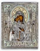 Russian  Hand Painted & Enamel Icon Vladimirskaya