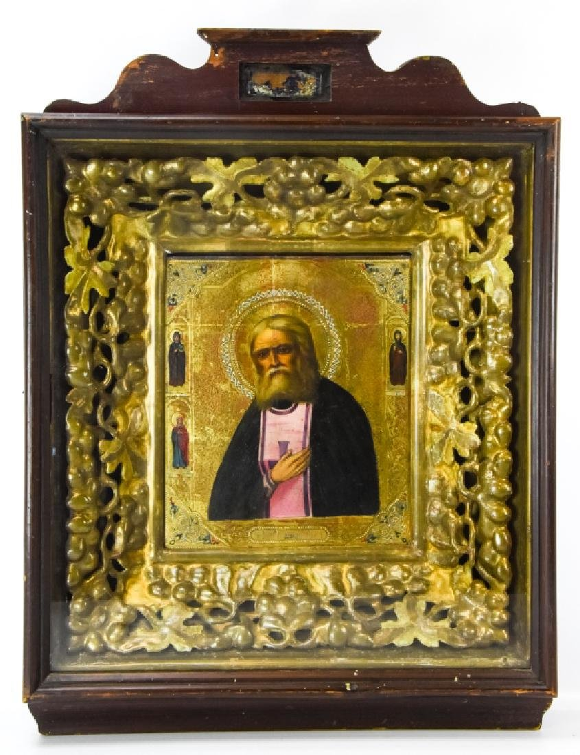 Antique 19th C Russian Icon of Seraphim