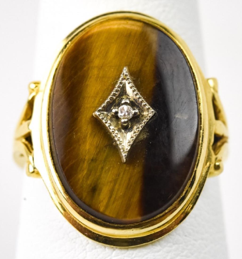 Estate 14kt Yellow Gold Diamond Tiger's Eye Ring
