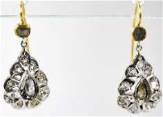 Antique Early 19th C Rose Cut Diamond Earrings
