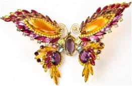 Huge Vintage Rhinestone Butterfly Brooch