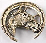 Vintage Sterling Silver Horse Theme Brooch Pin