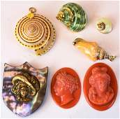 Vintage Sea Shell Pendants  Faux Coral Cameos