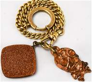 Antique Watch Fob Chain w Skull  Goldstone Charms