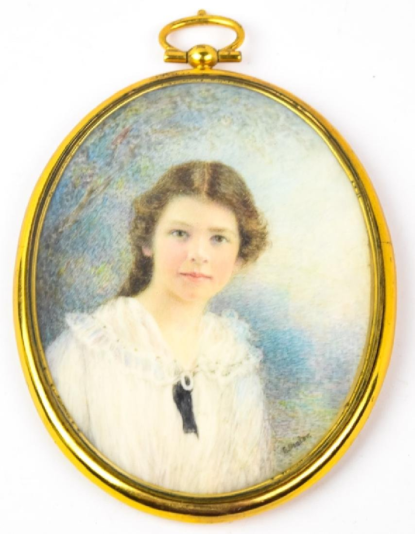 Antique Early 20th C Portrait Miniature - Signed