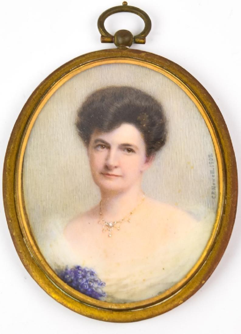 Antique Early 20th C Portrait Miniature - Signed