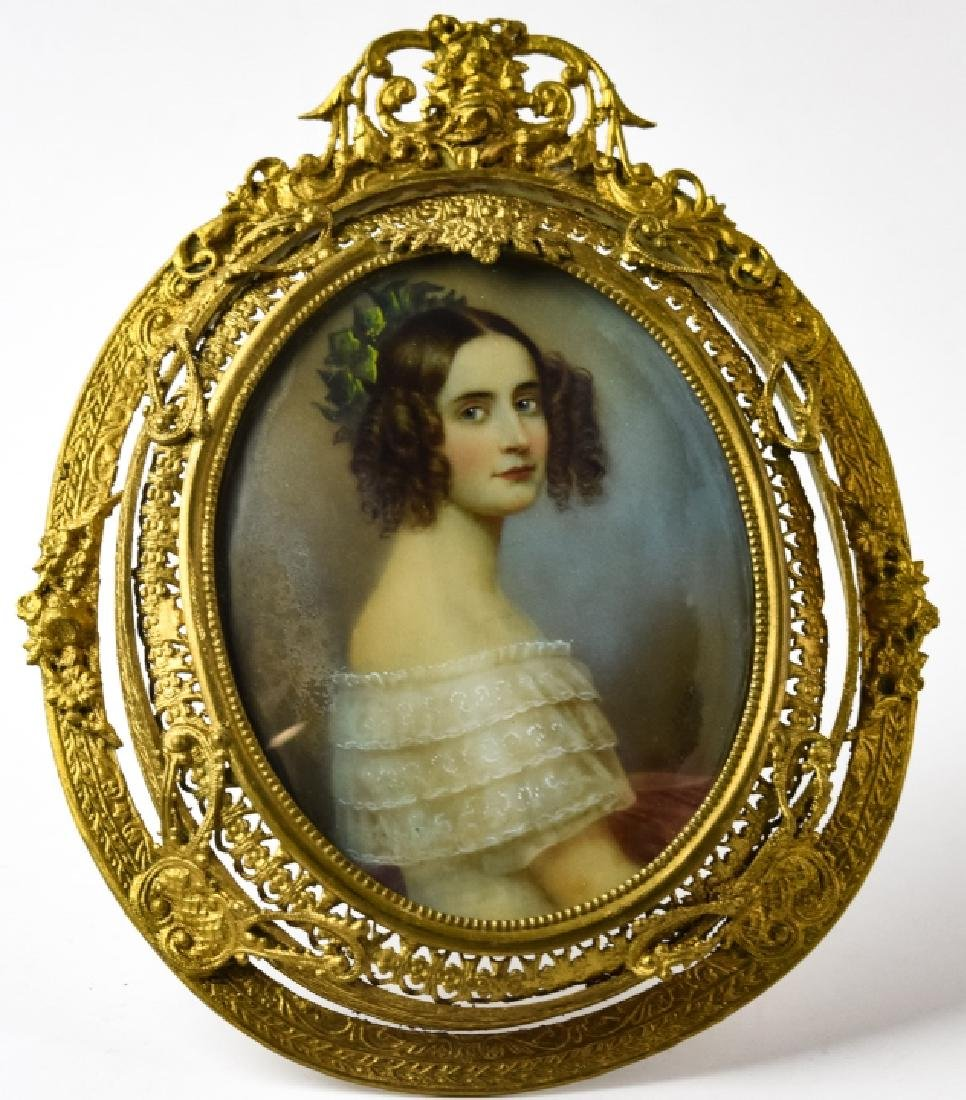 Antique 19th C French Portrait Miniature - Signed