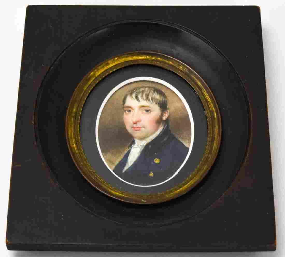 Antique 19th C Portrait Miniature of a Gentleman